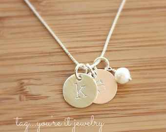 Personalized Initial Necklace - Gift For Her - Mommy Jewelry - Hand Stamped Initial Necklace - Sterling Silver jewelry - Bridesmaid Necklace