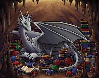 Knowledge is Power | Dragon Art Print | Fantasy Art Print | Book Lover Print | 8x10 | 11x14
