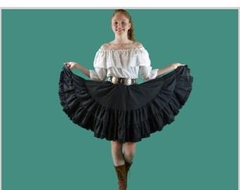 Vintage 1970s Skirt Ruffled Square Dance Skirt DIRNDL FESTIVAL Full High Waisted Black Rockabilly Square Dance Hippie Skirt XS / S / M