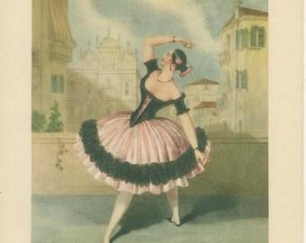 Marie Guy Stephan, Las Boleras de Cadiz, 1948 Vintage Ballet Print 13, Lynch, Spooner 1844, 19th Century Lithograph, Ballerina Art