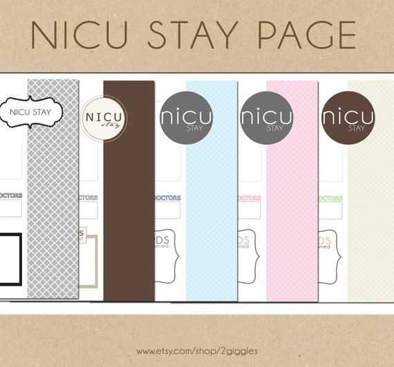 CLEARANCE // NICU Stay Page - Include in your Two Giggles Baby Album