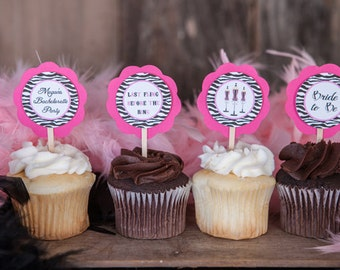 CUPCAKE TOPPERS - Bachelorette Party Hot Pink and Zebra Theme Party Decorations - Bachelorette Cupcake Toppers