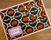 SALE! 50% OFF - Spooky Halloween Handmade Cross Stitch Card in Black and Orange.