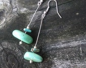 """SALE - Earrings - Turquoise and Silver - """"Floating Stones"""""""