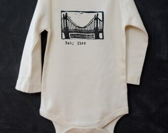 Brooklyn Baby Onesie - Personalized Brooklyn Bridge Onesie - Custom Baby Name - Printed Organic Onesie - New Baby Gift - Baby Shower