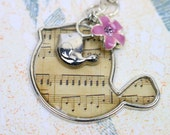 Twitter Music Pendant with a flat bird covered music notes