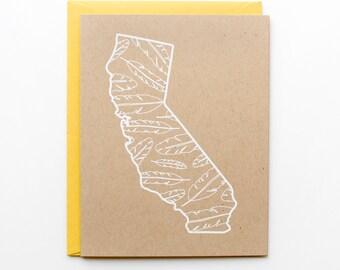 California Card - Feathers - Screen Print - A2 - original screen print - ooak - white on kraft - natural - rustic