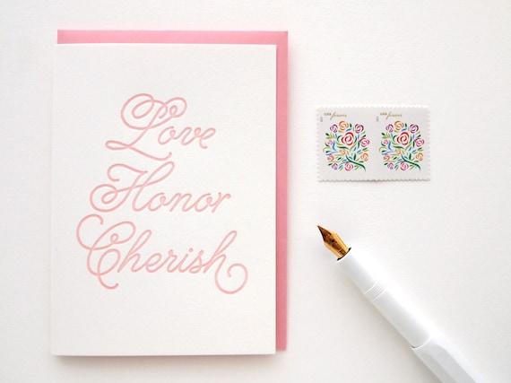 Letterpress Wedding Card - Love Honor Cherish