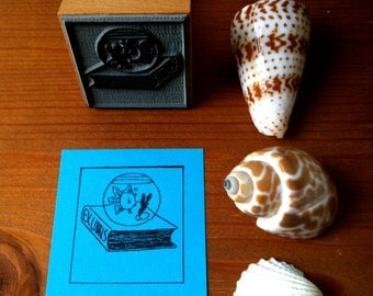 Personalized Bookplate Stamp Fish Bowl Ex Libris Stamp with wooden holder and free stamp pad