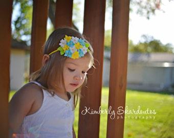 Yellow, Blue & White Felt Hydrangea Flower Headband