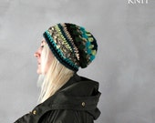 Slouchy Hat, Slouchy Beanie, Teal Green Gold Sparkled Glitter Beanie, Bohemian Hat, Chic Luxury Beanie,Womens Winter Hat, Gift for Her