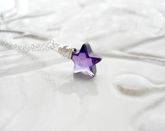 Crystal Star Necklace Purple Star Necklace In Sterling Silver CZ Necklace Pendant Modern Necklace Wire Wrapped Jewelry Amethyst Necklace