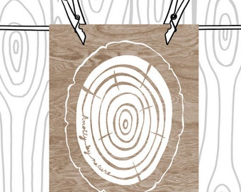 Knotty By Nature  - Brown and White Woodgrain Faux Bois Wood Slice Art Print  - 8 x 10 WoodlandWall Art