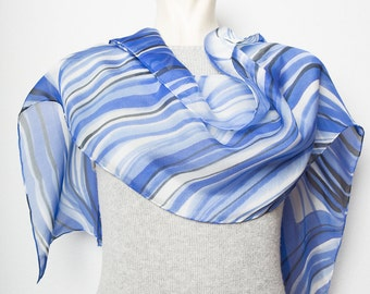 Present  Hand Painted Silk Chiffon Scarf Abstract Lines Blue White Black Nautical Sailing READY TO SHIP