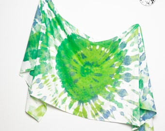 Unique Hand Painted Tie Dye Silk Cotton Summer Sarong Green Yellow Blue White Colours  Scarf Wrap  Colorfull Beach Holidays
