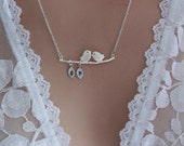 Love Birds Necklace - Silver Bird Necklace, Couples Gift, Hand Stamped Initials, Initial Necklace, Best Friends, Wedding Gift