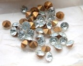 Large Vintage 1950s Machine Cut Foil Backed Crystal Chatons// Rhinestones // 9mm // Made in France // 12 Pieces