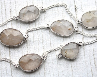 1 Foot Faceted Bezel Set Golden Rutilated Quartz Gemstone Chain // Sterling Silver Chain