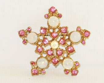 Vintage Pink Rhinestone Opaque Glass Star Brooch Pin (B-3-6)