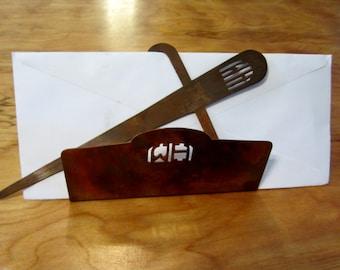 COPPER Arts  & Crafts Desk Set WH MONOGRAM Letter Holder and Letter Opener