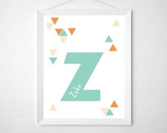 Custom Kids Name Art - Children's Alphabet Triangles Modern Typographic Print