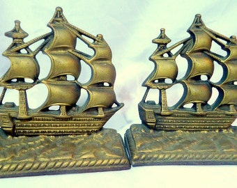 Bronze Over Cast Iron 1930s/40s Clipper Ship Bookends