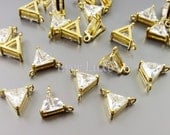 4 simple triangle CZ Cubic Zirconia crystal jewel connectors, wedding / bridal jewelry supplies, findings 940-BG (bright gold, 4 pieces)
