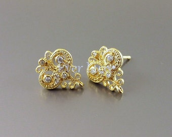 2 pcs / 1 pair Victorian style filigree CZ Cubic Zirconia earrings, earring components for earring making, jewelry making 1692-BG