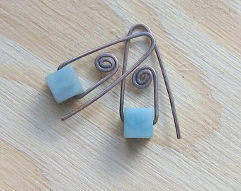 It's Hip to be Square, Amazonite Cubes on Copper Earwires