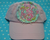 "THE "" HADLEY"" YOUTH Pink Baseball Raggy Hat Monogrammed"