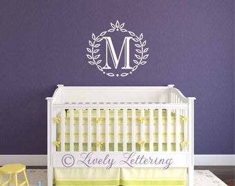 Single Letter Monogram in Leafy Wreath Frame, Initial Monogram, popular modern decal, wreath and initial decal, letter wall decal (PC0996)
