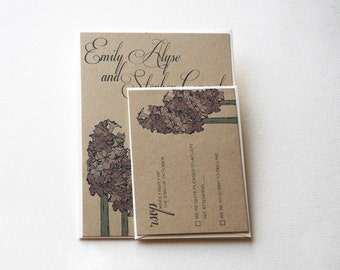 The Anna Collection - Rustic Floral Kraft Wedding Invitation Set in Cream, Brown, and Mauve - SAMPLE