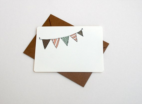 Summer Bunting Notecards in Brown, Pink and Green - Set of 6 Flat Notecards and Kraft Envelopes