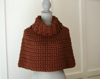 Capelet Cowl Poncho in Chocolate Brown Hand Crocheted
