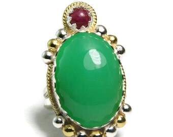 Statement Ring, Gold Chrysoprase Ring, Sterling Silver Jewelry, Ruby Gemstone, Hand Made, custom sized