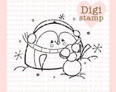 Snowball Penguin Digital Stamp for Card Making, Paper Crafts, Scrapbooking, Hand Embroidery, Invitations, Stickers, Coloring Pages