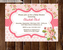 Shabby Style Pink Roses Baby Shower Invitation - Cottage Roses Invite - PRINTABLE INVITATION DESIGN