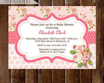 Shabby Style Pink Roses Baby Shower Invitation - Cottage Roses Invite - PRINTABLE INVITATION DESIGN