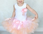 Peach Pink Blossom Baby Tutu Dress for Baby Girls and Blush Flower Girl Dresses