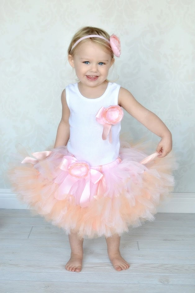 Peach Pink Blossom Baby Tutu Dress for Baby Girls and Blush