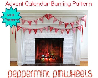 Christmas Advent Calendar. DIY Heirloom Holiday Decor Digital Pattern by Peppermint Pinwheels