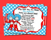 Dr. Seuss Thing 1 Thing 2 Twin Invitation Baby Shower Printable - Stick to Your Story