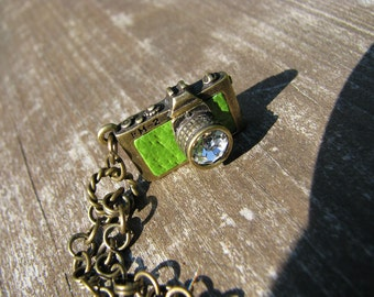 Green Camera Doll Necklace for Blythe, Pullip, Dal, Monster High, BJD etc.