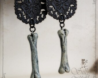 bone earrings - macabre, vegan, bone, victorian, memento mori, mourning, rockabilly, gothic, horror, halloween, ooak