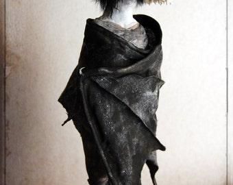 The Bat - soft sculpture, bat, anatomical skull, memento mori, day of the dead, halloween, spooky, odd art,