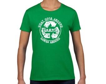 Karma tshirt recycle meditation yoga college humor hip cool green t shirt