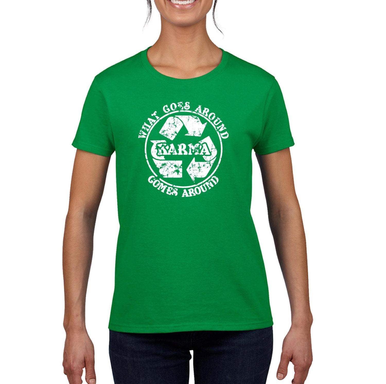 Karma Tshirt Recycle Meditation Yoga College Humor Hip Cool