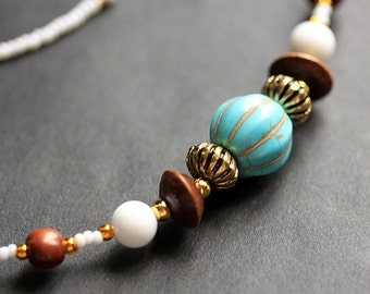 Beaded Lanyard. Turquoise and Wood Glasses Lanyard. Nurses Lanyard. Wood and Turquoise Eyeglass Necklace. ID Lanyard. White Handmade Lanyard