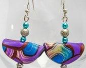Blue, Purple, Copper and Beige Folded Polymer Clay Earrings