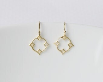 Diamond earrings, gold earrings, sterling silver earrings, moroccan, nimbus, star, geometric, tiny, simple, delicate, dainty earrings, Mosha